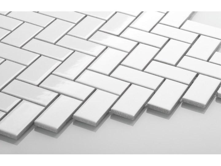 Płytka Jodełka Biała Szkliwiona Płytki podłogowe Gres Kategoria Płytki Płytki ścienne Mozaika Kolor Biały