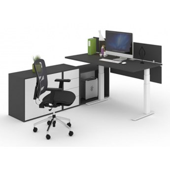 Zestaw stołu roboczego z regulacją wysokości, pojemnika z szufladami i 2 szafek FUTURE, biały/grafit