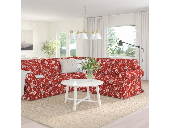 IKEA EKTORP Sofa narożna 4-osobowa, Virestad czerwony/biały, Minimalna szerokość: 243 cm Prawostronne Lewostronne Liczba miejsc Czteroosobowy