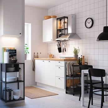 IKEA ENHET Kuchnia, antracyt/biały, 163x63.5x222 cm
