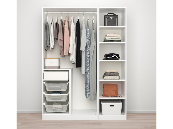 PAX / TYSSEDAL Kombinacja szafy Rodzaj frontów Mat Głębokość 60 cm Szerokość 150 cm Wysokość 201,2 cm Lustro