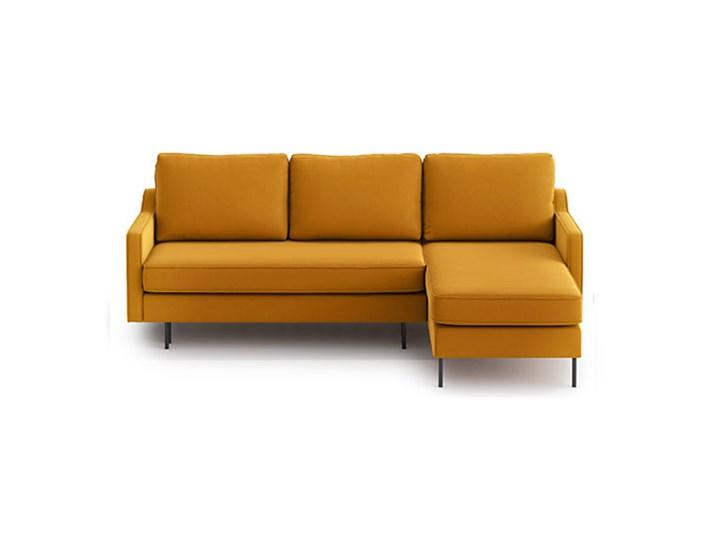 Narożnik Abbe z szezlongiem i funkcją spania (uniwersalny), Golden Velvet Stała konstrukcja W kształcie L Kolor Pomarańczowy