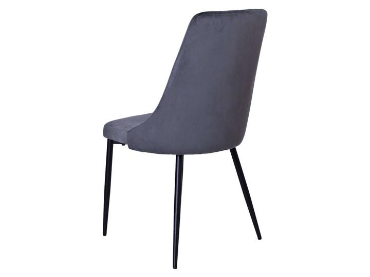Krzesło tapicerowane Lincoln Velvet grafitowy Krzesło inspirowane Tkanina Tworzywo sztuczne Metal Welur Wysokość 92 cm Skóra Styl Industrialny
