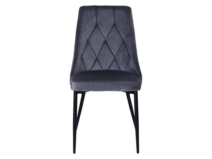 Krzesło tapicerowane Lincoln Velvet grafitowy Welur Tworzywo sztuczne Metal Wysokość 92 cm Styl Glamour Tkanina Skóra Krzesło inspirowane Styl Industrialny