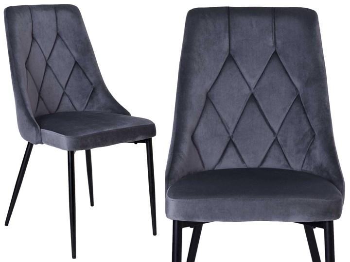 Krzesło tapicerowane Lincoln Velvet grafitowy Welur Skóra Tkanina Tworzywo sztuczne Wysokość 92 cm Metal Krzesło inspirowane Pomieszczenie Jadalnia