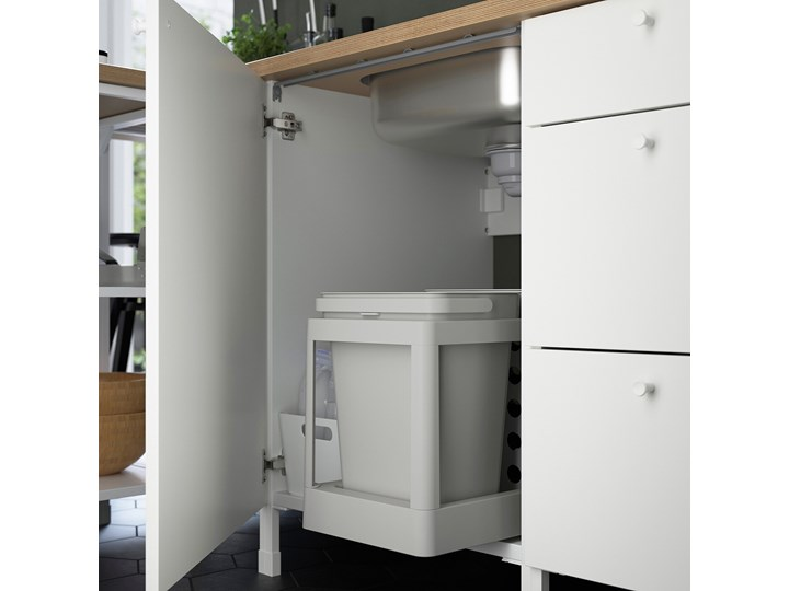IKEA ENHET Kuchnia narożna, antracyt/biały, Wysokość szafka wisząca: 150 cm Kategoria Zestawy mebli kuchennych