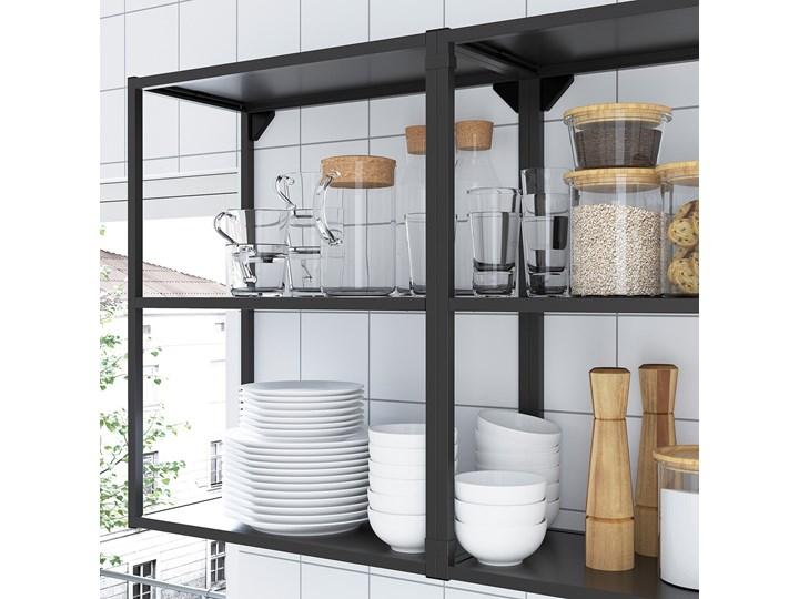 IKEA ENHET Kuchnia narożna, antracyt/biały, Wysokość szafka wisząca: 75 cm
