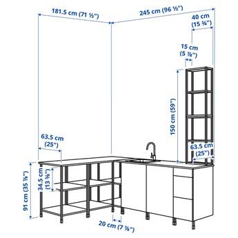 IKEA ENHET Kuchnia narożna, antracyt/szary rama, Wysokość szafka wisząca: 150 cm