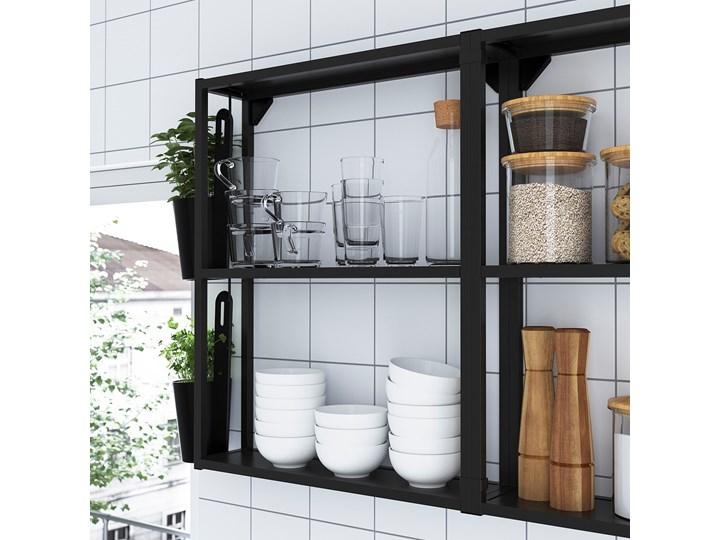 IKEA ENHET Kuchnia, antracyt/biały, 103x63.5x222 cm Kategoria Zestawy mebli kuchennych Kolor Czarny