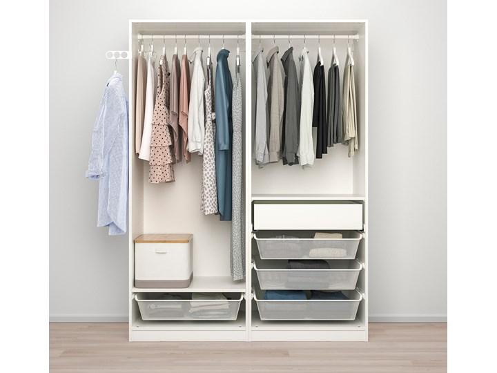 IKEA PAX / HOKKSUND Kombinacja szafy, biały/połysk jasnoszary, 150x66x201 cm Pomieszczenie Garderoba Płyta laminowana Lustro