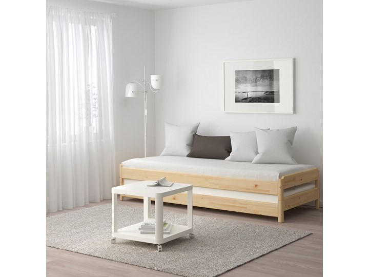 IKEA UTÅKER Łóżko sztaplowane, sosna, 80x200 cm Drewno Kolor Beżowy Podwójne Kategoria Łóżka dla dzieci