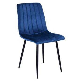 Krzesło tapicerowane Fresno Velvet granatowe