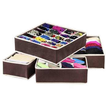 Organizer do szuflady na bieliznę brązowy zestaw 4 szt.