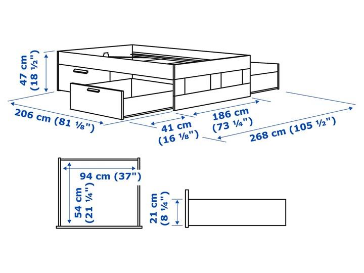 IKEA BRIMNES Rama łóżka z szufladami, biały/Lönset, 180x200 cm Tkanina Łóżko drewniane Kategoria Łóżka do sypialni