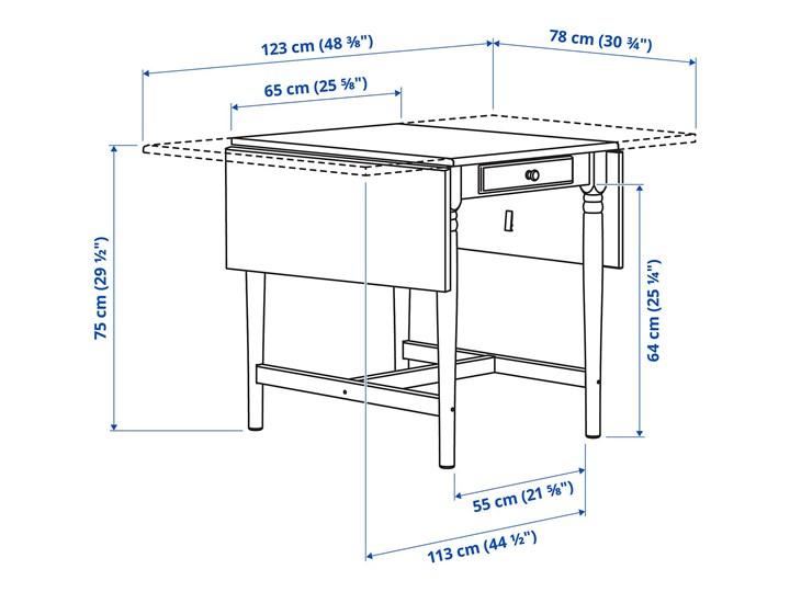 IKEA INGATORP Stół z opuszczanym blatem, Czarnobrąz, 65/123x78 cm Wysokość 75 cm Długość 65 cm Sosna Długość 123 cm Płyta MDF Kształt blatu Prostokątny