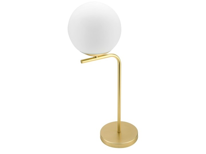 Lampa stołowa GoodHome Baldaz 1-punktowa E14 mosiądz Wysokość 51 cm Lampa z kloszem Kolor Biały