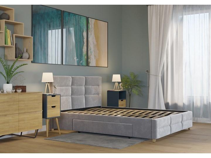 ŁÓŻKO 160x200 z 2 SZUFLADAMI - BERGAMO WELUR SZARE Kategoria Łóżka do sypialni Kolor Szary