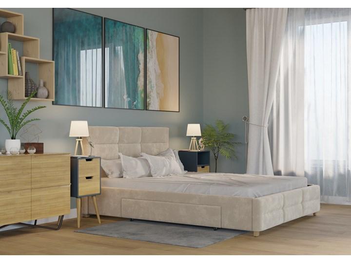 ŁÓŻKO 140x200 z MATERACEM i 2 SZUFLADAMI - BERGAMO WELUR BEŻOWE Rozmiar materaca 140x200 cm Kolor Beżowy