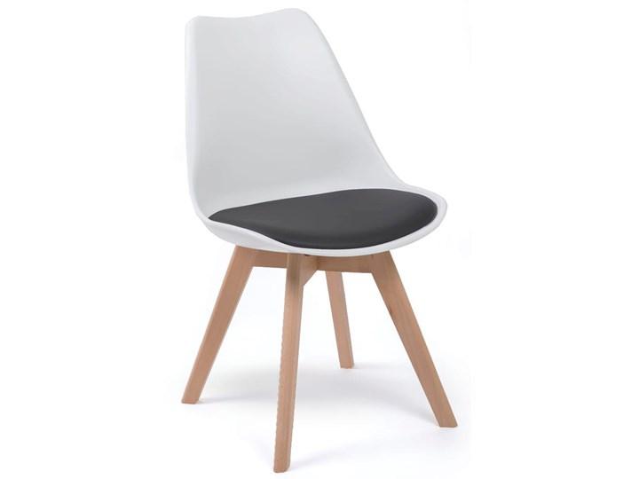 NOWOCZESNE KRZESŁO 53E-7 BIAŁO-CZARNE Drewno Tworzywo sztuczne Kolor Biały