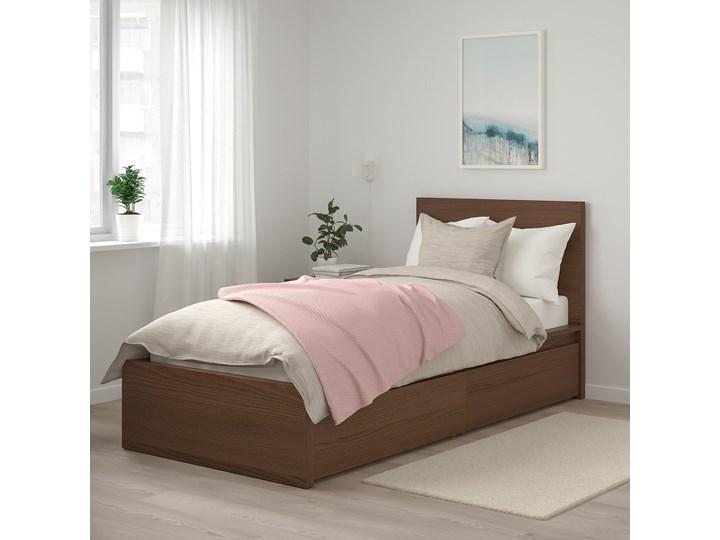 IKEA MALM Rama łóżka z 2 pojemnikami, Brązowa bejca okleina jesionowa, 90x200 cm Drewno Łóżko drewniane Kolor Brązowy