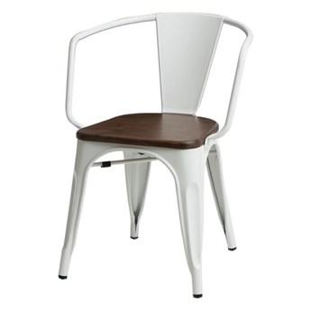 SELSEY Krzesło Paris Arms Wood białe - orzech