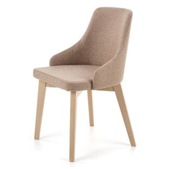 SELSEY Krzesło tapicerowane Berlas beżowe - dąb sonoma