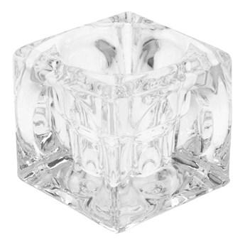 Świecznik szklany na tealighty wys. 5.5 cm transparentny