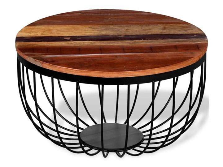 vidaXL Stolik kawowy, lite drewno odzyskane Metal Wysokość 35 cm Styl Vintage Styl Industrialny