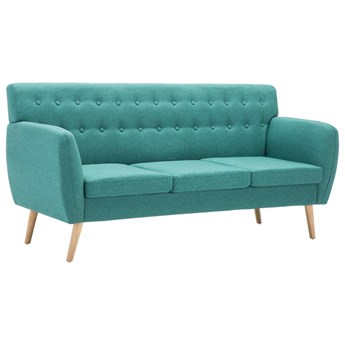 vidaXL 3-osobowa sofa tapicerowana tkaniną, 172x70x82 cm, zielona