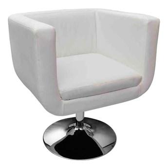 vidaXL Fotele barowe, 2 szt., białe, sztuczna skóra