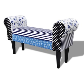 vidaXL Patchworkowa ławka, niebiesko-biała