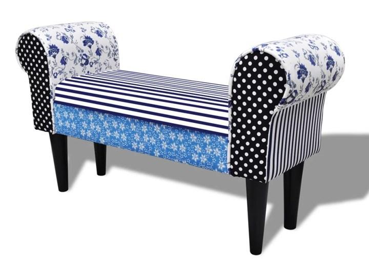 vidaXL Patchworkowa ławka w rustykalnym stylu, niebiesko-biała Materiał nóżek Drewno Z podłokietnikiem Kolor Biały