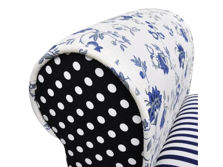 vidaXL Patchworkowa ławka w rustykalnym stylu, niebiesko-biała Z podłokietnikiem Kolor
