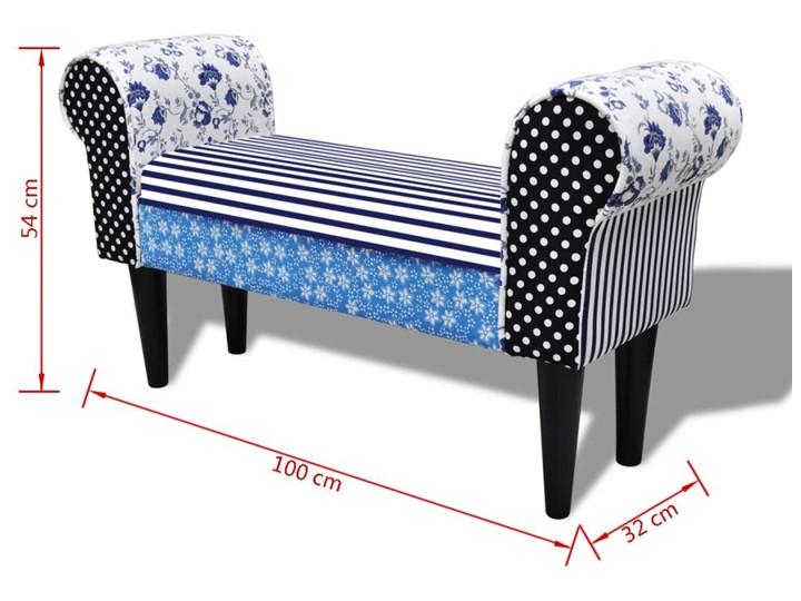 vidaXL Patchworkowa ławka w rustykalnym stylu, niebiesko-biała Z podłokietnikiem Materiał nóżek Drewno Pomieszczenie Salon