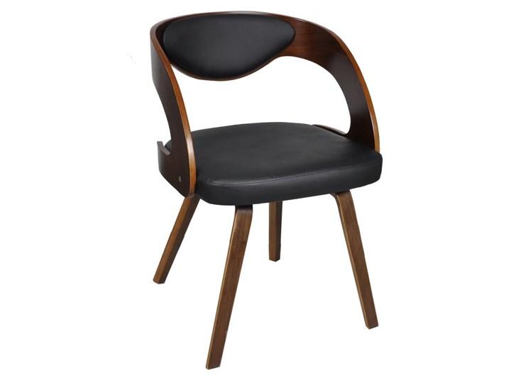 vidaXL Krzesła stołowe, 4 szt., brązowe, gięte drewno i sztuczna skóra Krzesło inspirowane Szerokość 52 cm Głębokość 44 cm Płyta MDF Skóra ekologiczna Tapicerowane Szerokość 48,5 cm Tworzywo sztuczne Wysokość 76 cm Tkanina Kolor Brązowy
