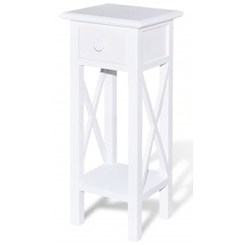 vidaXL Stolik boczny z szufladą, biały