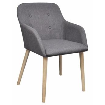 vidaXL Krzesła do jadalni, 6 szt., jasnoszare, tkanina i lity dąb