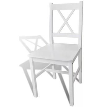 vidaXL Krzesła stołowe, 4 szt., białe, drewno sosnowe