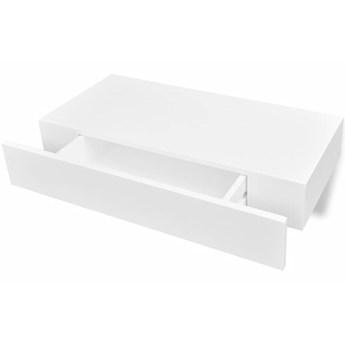 vidaXL Wisząca półka na książki/DVD z szufladą, biała