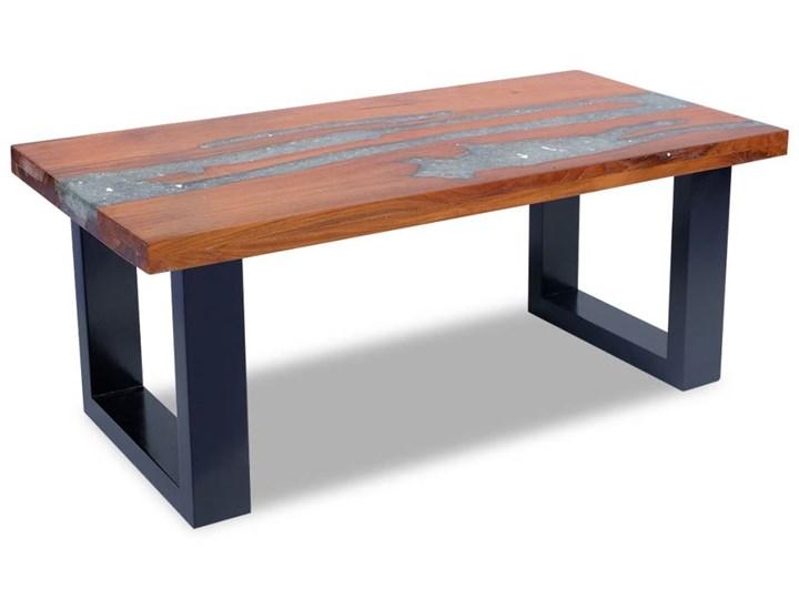 vidaXL Stolik kawowy z drewna tekowego i żywicy, 100x50 cm Styl Rustykalny Drewno Kategoria Stoliki i ławy