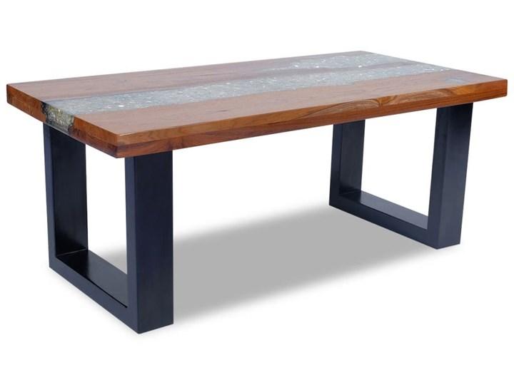 vidaXL Stolik kawowy z drewna tekowego i żywicy, 100x50 cm Kształt blatu Prostokątne Drewno Styl Rustykalny
