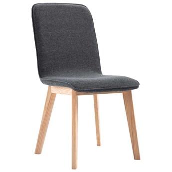vidaXL Krzesła do jadalni, 4 szt., szare, tkanina i lity dąb