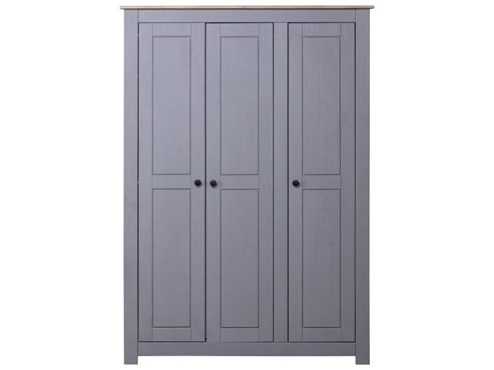 vidaXL Szafa trzydrzwiowa, szara, 118x50x171,5 cm, sosna, seria Panama Kolor Szary Głębokość 50 cm Szerokość 118 cm Drewno Pomieszczenie Garderoba