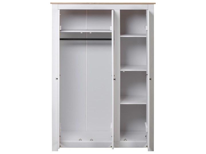 vidaXL Szafa trzydrzwiowa, biała, 118x50x171,5 cm, sosna, seria Panama Szerokość 118 cm Kategoria Szafy do garderoby Drewno Wysokość 171 cm Głębokość 50 cm Ilość drzwi Trzydrzwiowe