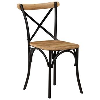vidaXL Krzesła do jadalni, krzyżowe, 6 szt., czarne, lite drewno mango