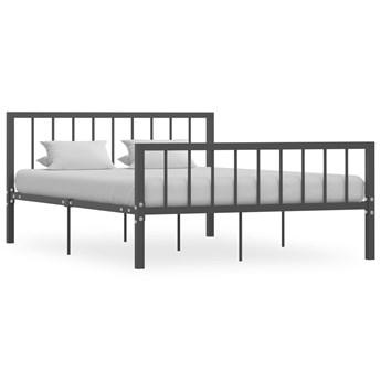 vidaXL Rama łóżka, szara, metalowa, 140 x 200 cm