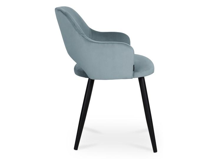 Bettso krzesło MARCY / srebrno-niebieski / noga czarna / BL06 Głębokość 57 cm Tkanina Szerokość 50 cm Głębokość 43 cm Wysokość 76 cm Wysokość 46 cm Kategoria Krzesła kuchenne Metal Pomieszczenie Jadalnia