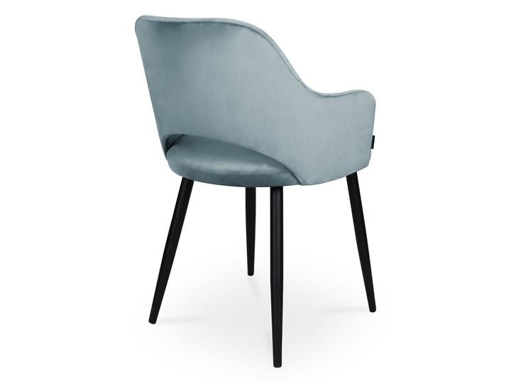 Bettso krzesło MARCY / srebrno-niebieski / noga czarna / BL06 Szerokość 50 cm Głębokość 57 cm Wysokość 46 cm Tkanina Wysokość 76 cm Głębokość 43 cm Metal Kolor Czarny
