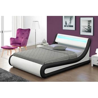 Łóżko z pojemnikiem 180x200 - COMO (138) LED biało-czarne ekoskóra  z materacem
