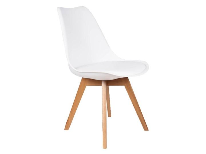 NOWOCZESNE KRZESŁO 53E-7 BIAŁE, NOGI DREWNO Pomieszczenie Jadalnia Tworzywo sztuczne Kategoria Krzesła kuchenne